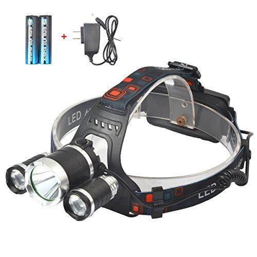Smiling Shark 5000 Lumen Bright Headlamp Flashlight 1 CREE T6 and 2 CREE Q5 LED Headlight Torch with Rechargeable Batteries and Charger for Outdoor Sport *** Check out the image by visiting the link.