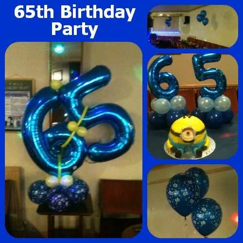 A special 65th Birthday celebration. Contact us via the website for a FREE, no obligation quotation for room decor, balloons and party supplies.