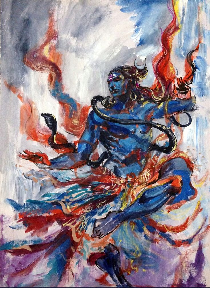 Shiva. Life. Dance. Original painting by Abhishek Singh. India. Gouache and Acrylic on Archival Paper