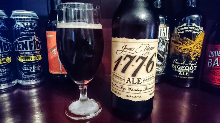 James Pepper 1776 American Brown Ale, 10.4%. Aged in rye whisky barrels that previously held 1776 whisky. Brewed & bottled by Georgetown Trading Co, Sterling Virginia, USA. What a beautiful beer, with the sweet rye whisky really coming through! I'll buy another one to replace this one, which was bottled in December 2015.