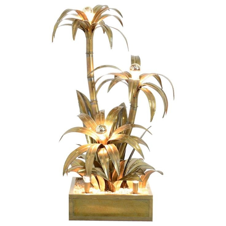 Maison Jansen Brass Palm Tree Floor Lamp   From a unique collection of antique and modern floor lamps at https://www.1stdibs.com/furniture/lighting/floor-lamps/