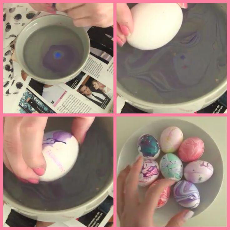 Van nagellak leuk je eieren versieren door nagellak in water te stoppen. Het te mengen met een stokje en je ei er in deppen   En klaar is Kees leuke decoratie  Tip eet ze maar maar niet op