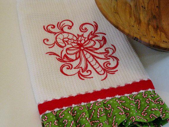Embroidered Christmas Kitchen Towel Swirly by KarensMonogramming