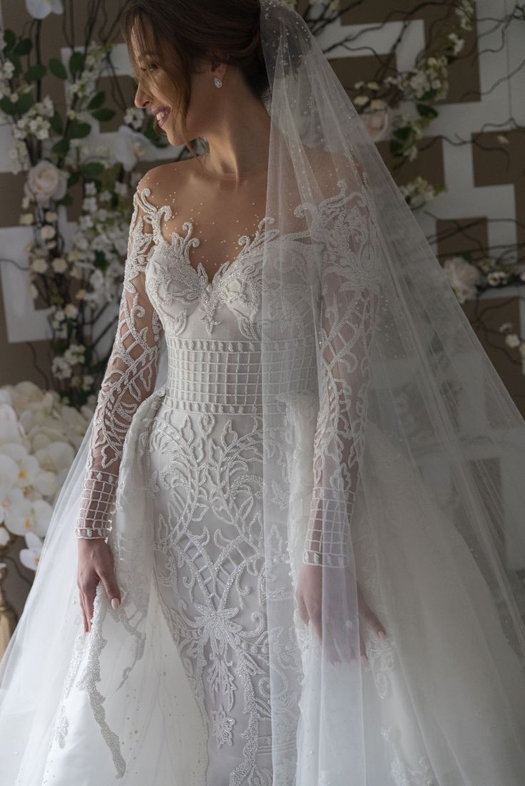 Stunning pattern, amazing wedding dress. Steven Khalil Custom Made Wedding Dress