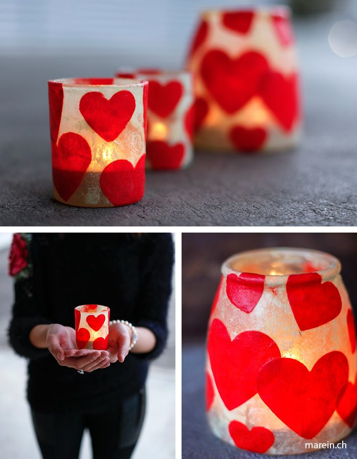 Happy Valentine // Wir zeigen dir wie du ein romantisches Geschenk für den Valentine's Day bastelst. http://www.marein.ch/basteln/7087/happy-valentine/ (Diy Candles)