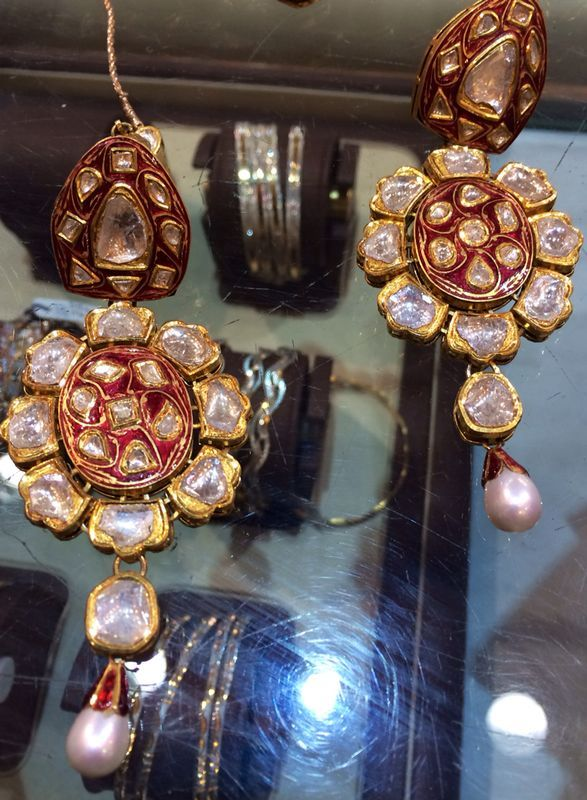 Stunning Polki earrings and more! At CBSN Talwar Jewellers New Delhi