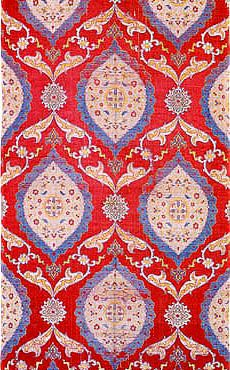 Ogees (ovals with pointed ends) are especially common, but slightly wavy vertical vines with flowers - especially tulips and carnations - are also popular. The famous Ottoman fabrics were made chiefly of silk, and were constructed in a variety of complex weaves, such as brocade, velvet and voided velvet, lampas, damask, and more.