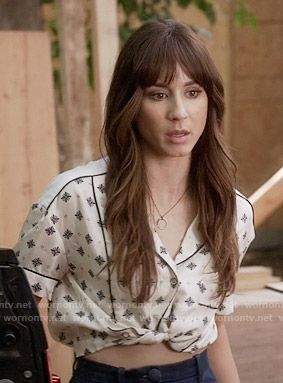 Spencer's cropped tie-front shirt on Pretty Little Liars.  Outfit Details: https://wornontv.net/56017/ #PLL