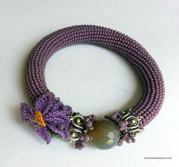 Bracelet Beaded Bracelet Beaded Crochet Bracelet by NazoDesign