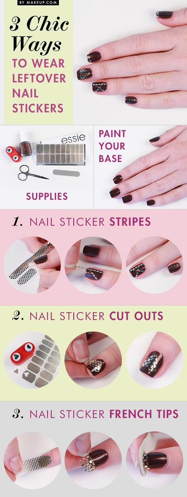 Nail Stickers Tutorial I #nails #nailpolosh #essie #beauty #cosmetics #makeup #howto #tutorial www.pampadour.com