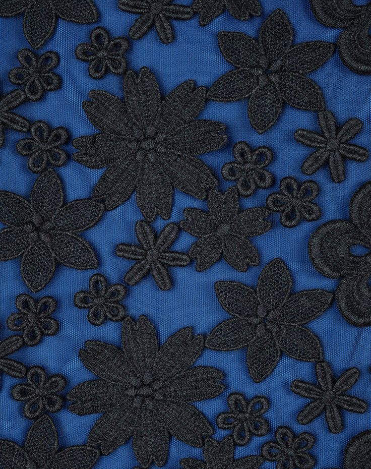 Ici Maintenant - alover embroidery blue anthracite Swiss made