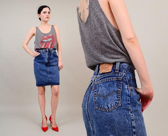 Vintage LEVIS 80s 90s Acid Wash Denim High Waist Jean Skirt 80s Fashion by SHOPPOMPOMVINTAGE