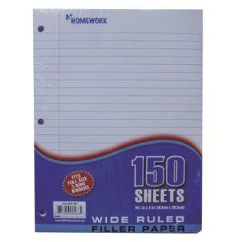 *LOOSE LEAF FILLER PAPER WIDE RULED-150 SHEETS