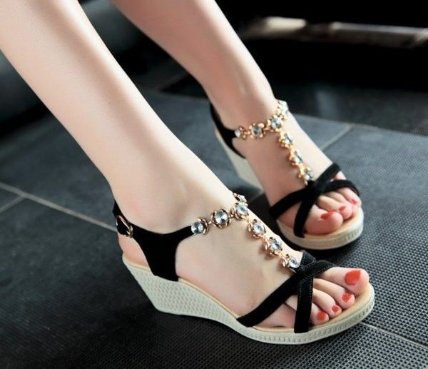rhineston wedge back strap high heel sandals
