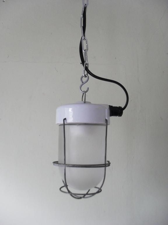 Stara lampa przemysłowa porcelana LOFT