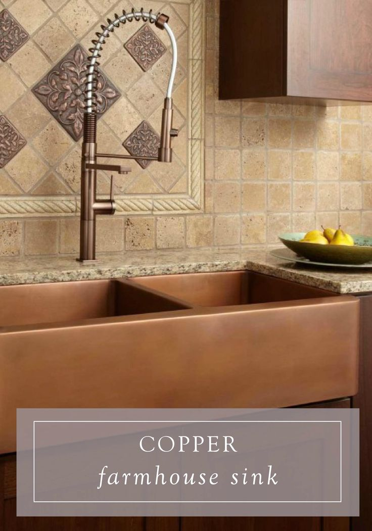 Genuine copper makes this luminous sink a spectacular for Farm style kitchen backsplash