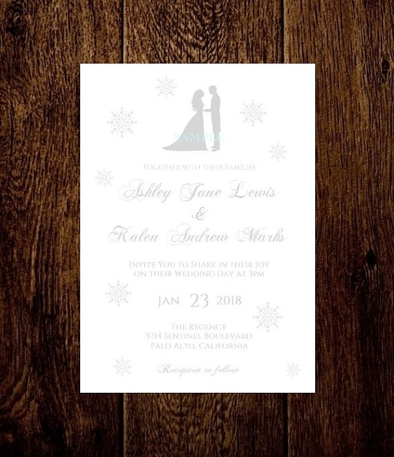 Winter Wedding Invitation Template Silhouette Silver Gray Snowflakes Printable  Instant Download - DIY You Edit Text - Suggested Free Fonts