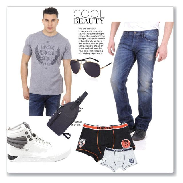 """""""Men's Diesel Jeans Outfit"""" by dare2buyonline on Polyvore featuring men's fashion and menswear"""