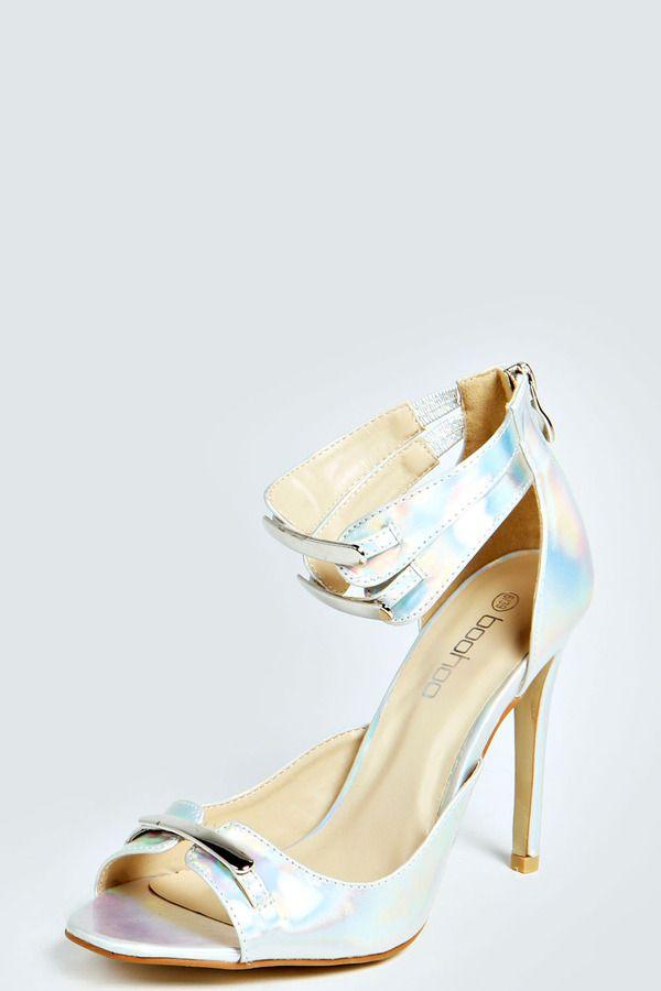 Boohoo Ashleigh Holographic Metallic Trim Heels on shopstyle.co.uk