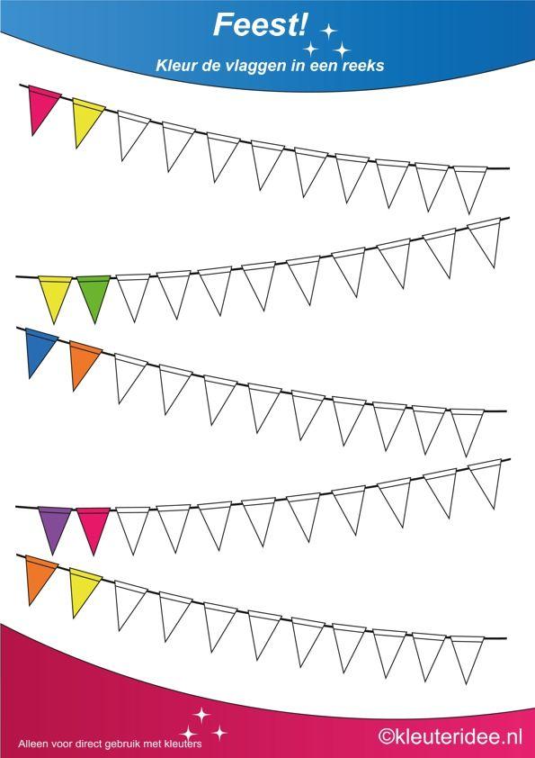 Kleur de vlaggen in een reeks 3, thema feest voor kleuters, juf Petra van…