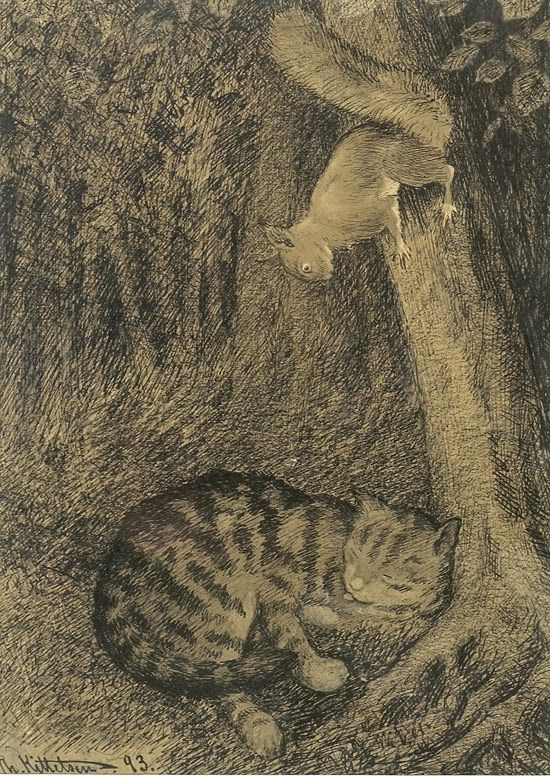 Norwegan artist Theodor Kittelsen (1857-1914) - Cat and Squirrel (1893)