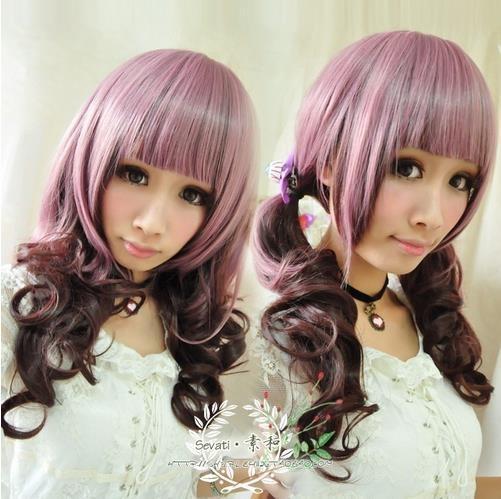 Long Curly Cosplay Wig Pink Mixed Brown Lolita Harajuku Style Wig Free Shipping | eBay
