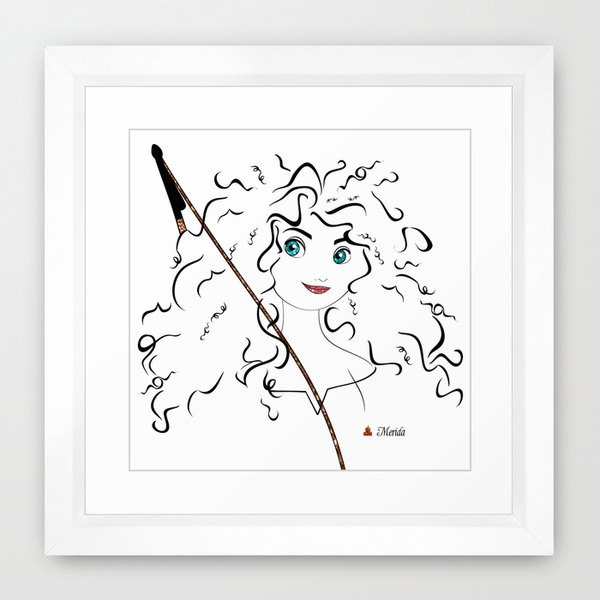 Pixar 39 s disney princess merida minimalist art 12x12 professional metallic print pixar brave Metallic home decor pinterest