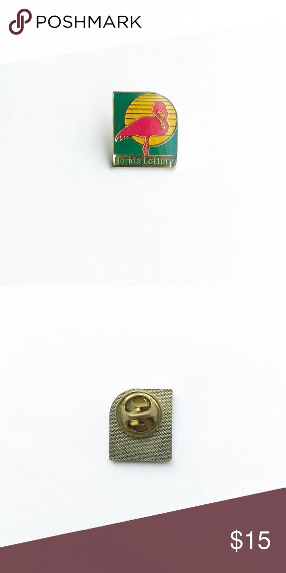 "Vintage Florida Enamel Pin Vintage Florida Lottery Enamel Pin  • true vintage • 3/4"" x 5/8"" • colors: gold, pink, green, yellow • tags: state pride, miami, keys, flamingo, sunset, beach, ocean, hat, lapel, vest, brooch, jacket • all of the pins I sell are vintage and may contain minor nicks, imperfections, or oxidation Vintage Accessories"