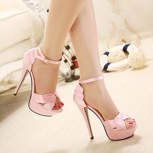 Elegant Pink Stiletto High Heel Peep Toe Sandals