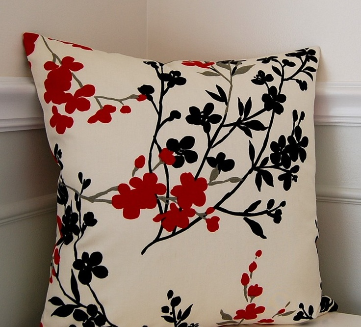 Oriental Throw Pillow Covers : Red Floral Throw Pillow Cover, Cushion Cover, Asian Decorative Pillow Cover, 18x18 Pillow ...