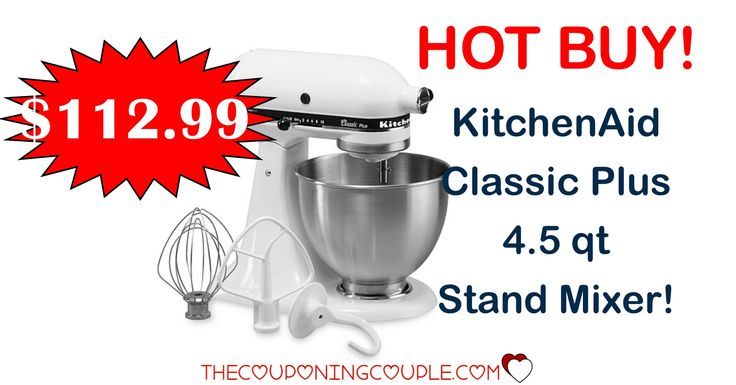 HOT BUY! BEST PRICE AROUND! KitchenAid Classic Plus 4.5 qt Stand Mixer for only $112.99! Awesome addition to any kitchen!  Click the link below to get all of the details ► http://www.thecouponingcouple.com/kitchenaid-classic-plus-4-5-qt-stand-mixer/ #Coupons #Couponing #CouponCommunity  Visit us at http://www.thecouponingcouple.com for more great posts!