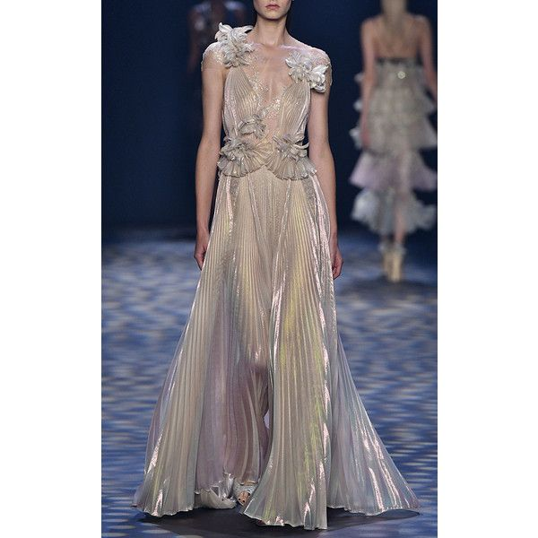 Marchesa     Pleated Grecian Gown ($7,995) ❤ liked on Polyvore featuring dresses, gowns, metallic, metallic evening dress, pleated evening dress, marchesa evening gowns, brown gown and brown evening gowns