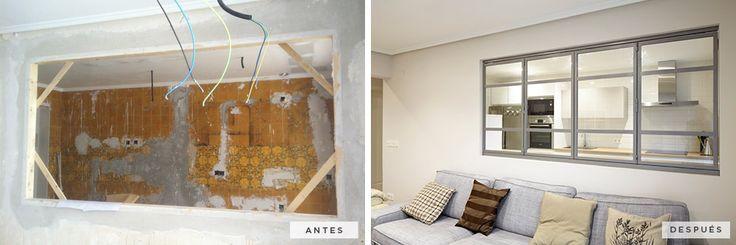 #AntesDespues: Catalina de Erauso | Reforma integral de la vivienda. Espacios separados pero compartidos, cocina y salón. #Reforma #Vivienda #Decoracion #SanSebastian