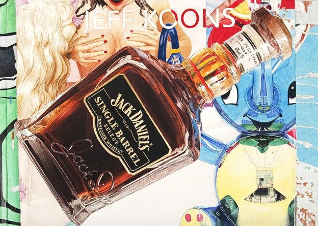 jeff koons and jack daniels 50x70cm watercolor on paper 2011
