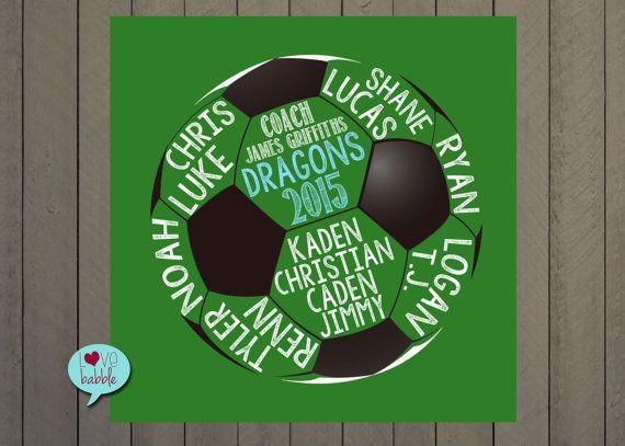 Soccer Coach Team Gift Word Cloud Art  PRINTABLE by lovebabble