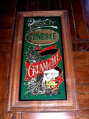 Vintage Genesee Quot Cream Ale Quot Mirror Glass Beer Sign Tavern