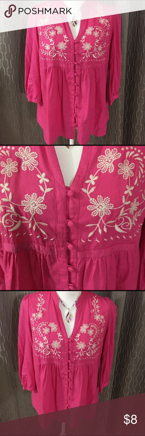 Hot Pink Top Beautiful flowered pattern, with a v neck, buttons down the front, 3/4 length sleeves  % cotton, in great condition. St. John's Bay Tops Blouses