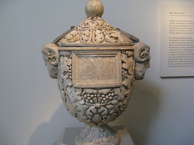 Roman burial urn    Ancient Roman burial urn to hold the ashes of the cremated body. Cremation was the standard Roman method of dealing with the dead for most of their history, although burial in elaborate sarcophagi became popular in the 2nd and 3rd centuries AD. This urn bears the name Novia Clara; presumably it held her ashes.