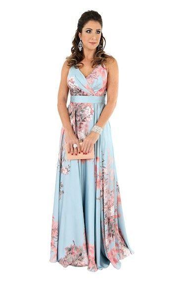 Vestido de Festa em Cetim Estampado Floral