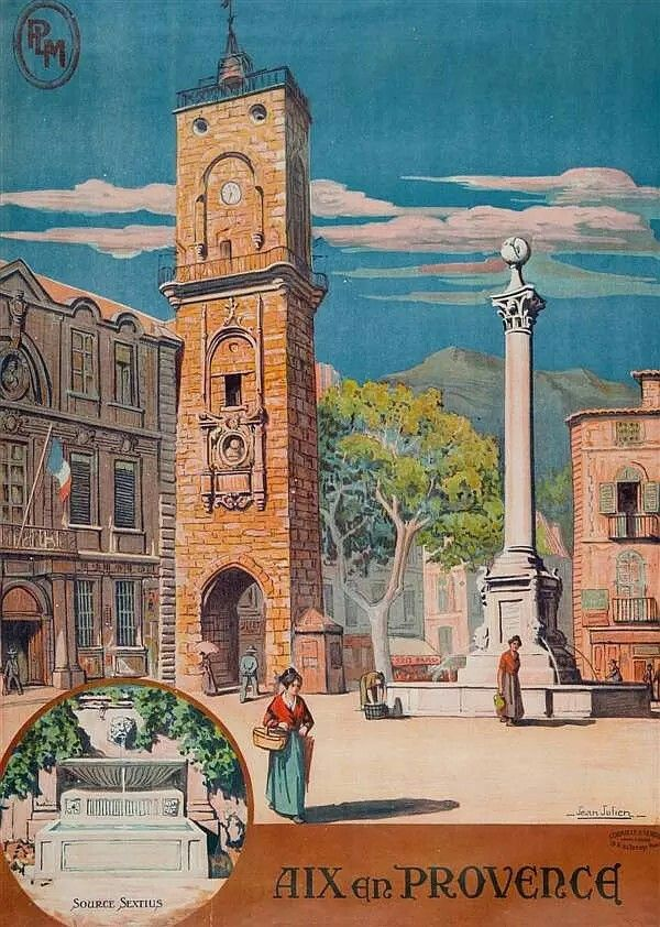Vintage Railway Travel Poster - Aix- en- Provence - France.