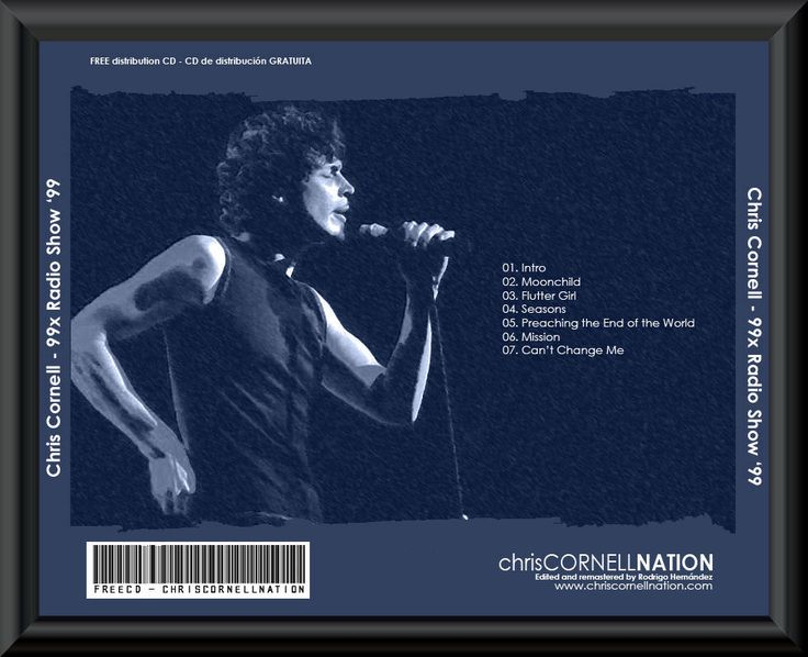 Chris Cornell - 99X Radio Show 1999.rar (30.3 MB) 01. Intro 02. Moonchild 03. Flutter girl 04. Seasons 05. Preaching the end of the world 06. Mission 07. Can't change...