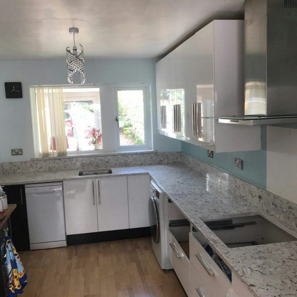The Bianco Foresta has been installed in to this kitchen including the worktops, upstands and even the windowsill.