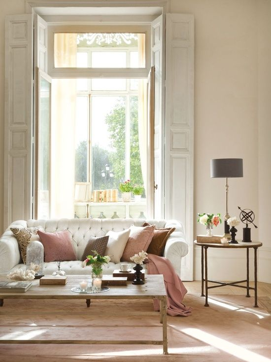 Elegant Neutral Living Room with Pink Colour Accents in Cushions and Throws - love this: