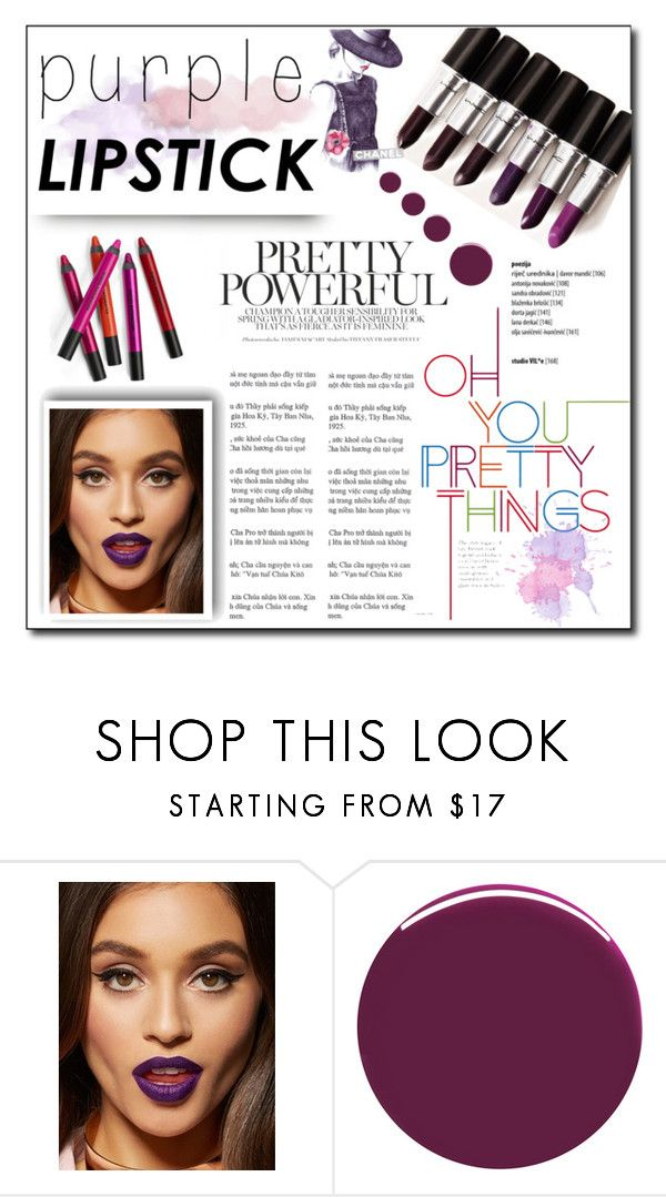 """Purple Lipstick"" by achernar ❤ liked on Polyvore featuring beauty and Nails Inc."