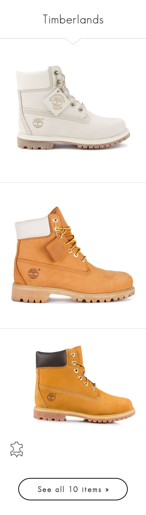 """Timberlands"" by caseynext ❤ liked on Polyvore featuring shoes, boots, boots/booties, white, flat shoes, ivory shoes, water proof boots, white flat boots, white boots and sneakers"