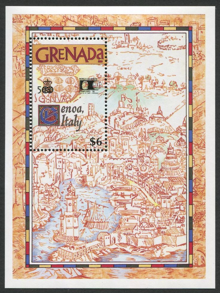 Grenada Scott #2070 S/S of map and Coat of Arms of Genoa, Italy.