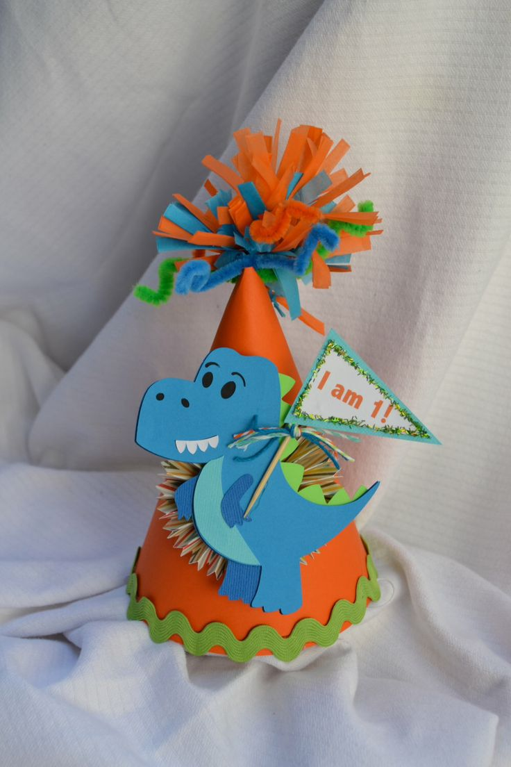 Dinosaur 1st birthday party hat by PoshBoxParties on Etsy https://www.etsy.com/listing/225088665/dinosaur-1st-birthday-party-hat