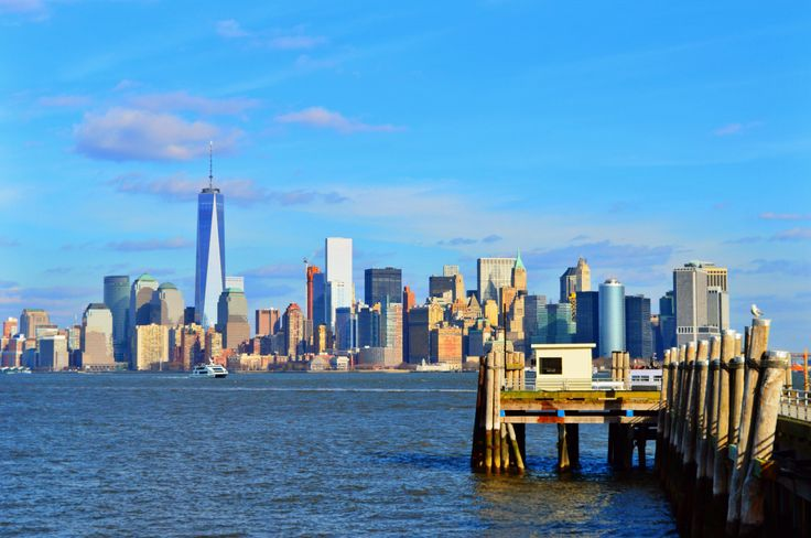 Manhattan, from Liberty Island, in a sunny winter day