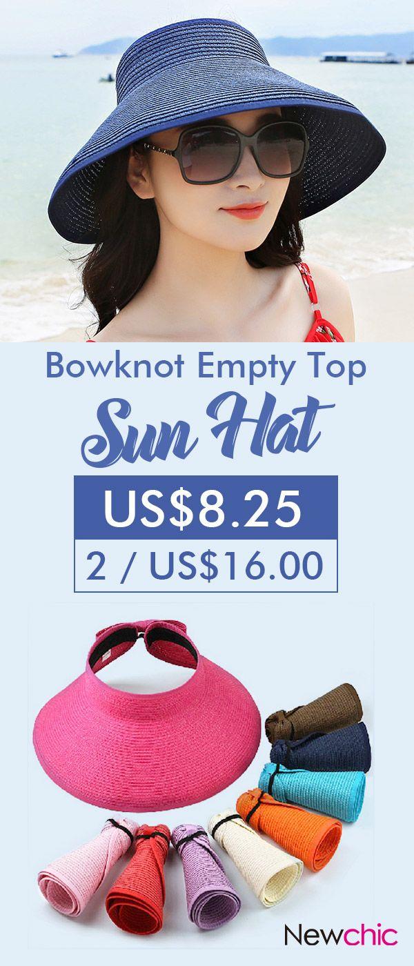 119cb16d4f8 Women Foldable Bowknot Empty Top Wide Brim Beach Sun Straw Hat Outdoor  Summer Travel Visor Cap