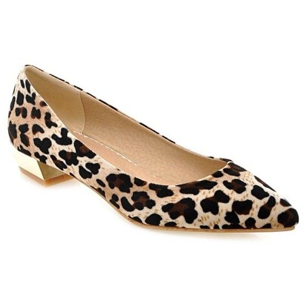 Leopard Print Suede Pointed Toe Flat Shoes found on Polyvore featuring shoes, flats, pointy toe leopard flats, flat pumps, leopard flats, flat pointed-toe shoes and leopard shoes